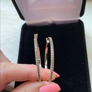Diamond Sterling Silver Hoop Earrings KAY Jewelers